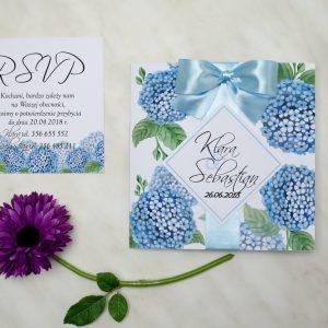 kwiaty hortencje na zaproszeniu ślubnym