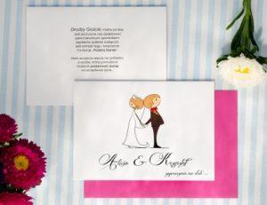 para młoda na zaproszeniu ślubnym - zabawny rysunek